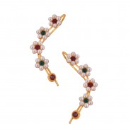 Amazing ear cuffs studded with pearl flower